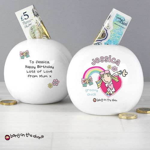 Personalised Bang on the Door Groovy Chick Money Box
